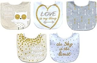 Koala Baby Cotton Printed Aspirational Saying Bib Set - Girl - Gold/Grey/White- 5 Pack Cute & Absorbent Velcro Bib Set
