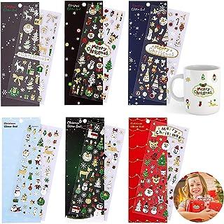 RVSVOM Lot de 6 feuilles d'autocollants de Noël à paillettes pour loisirs créatifs scrapbooking et décoration pour enfants...