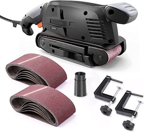 discount Belt online sale Sander 3×18-Inch with 13Pcs Sanding Belts, popular Bench Sander with Variable-speed Control, Fixed Screw Clamps, Dust Box, Vacuum Adapters, 10Feet (3 meters) Length Power Cord - B10 online
