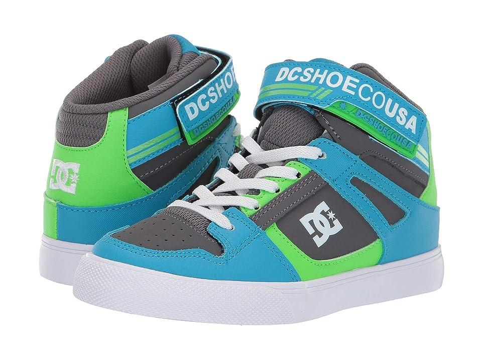 DC Kids Pure High-Top EV (Little Kid/Big Kid) (Grey/Green/Blue) Boys Shoes