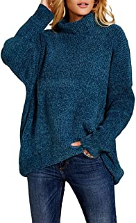 Ferbia Cowl Neck Pullover Sweaters for Women Chenille Chunky Cable Knit Sweater Oversized Loose Tops