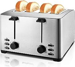 Toaster 4 Slice Slice Slice Toaster Fours à grille-pain Comptoir 4 Slots Quatre tranche avec dégivrage de réchauffage Annu...