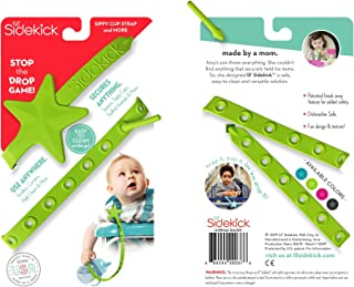Lil' Sidekick - Attach Sippy Cups, Teethers, Toys, Pacifiers, and More! Easily Straps to Strollers, High Chairs, Car Seats, etc. - Stop Picking Up Your Child's Thrown Objects (Green)