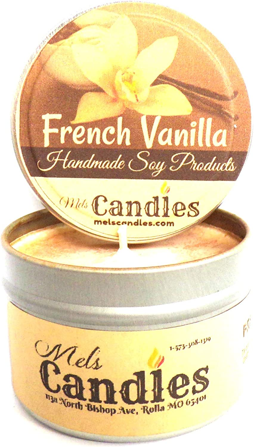 French Vanilla 4 Ounce 100% Handmade Soy mart Tin OFFicial store Candle
