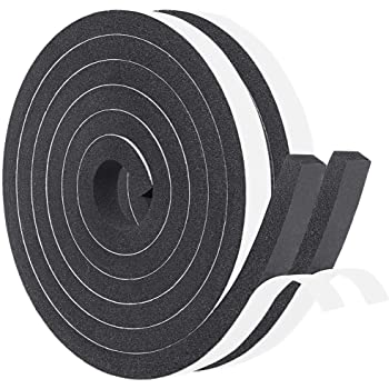 Window Insulation Weather Stripping 2 Rolls 1/2 Inch Wide X 1/2 Inch Thick, Closed Cell Foam Tape Adhesive Rubber Seal Strip, Total 13 Feet Long (2 X 6.5 Ft Each)