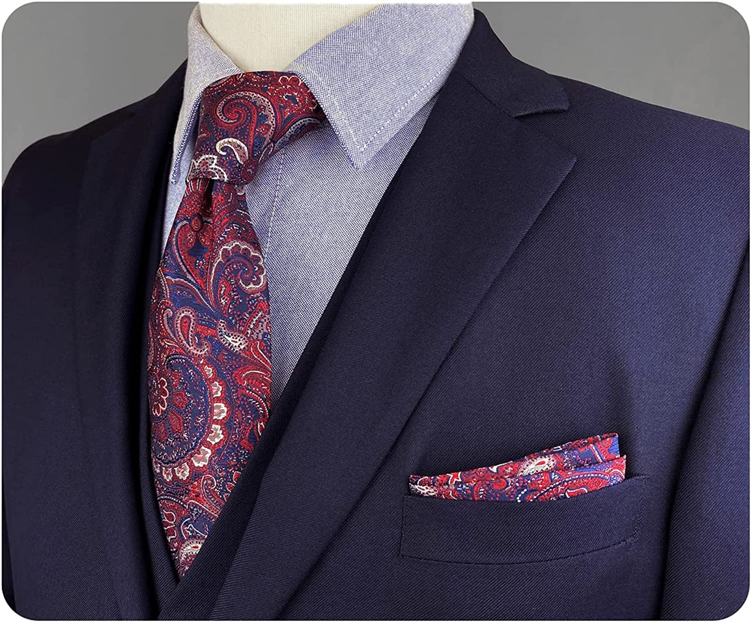 S&W SHLAX&WING Mens Tie Mens Dress Neckties Steel Blue Navy and Red