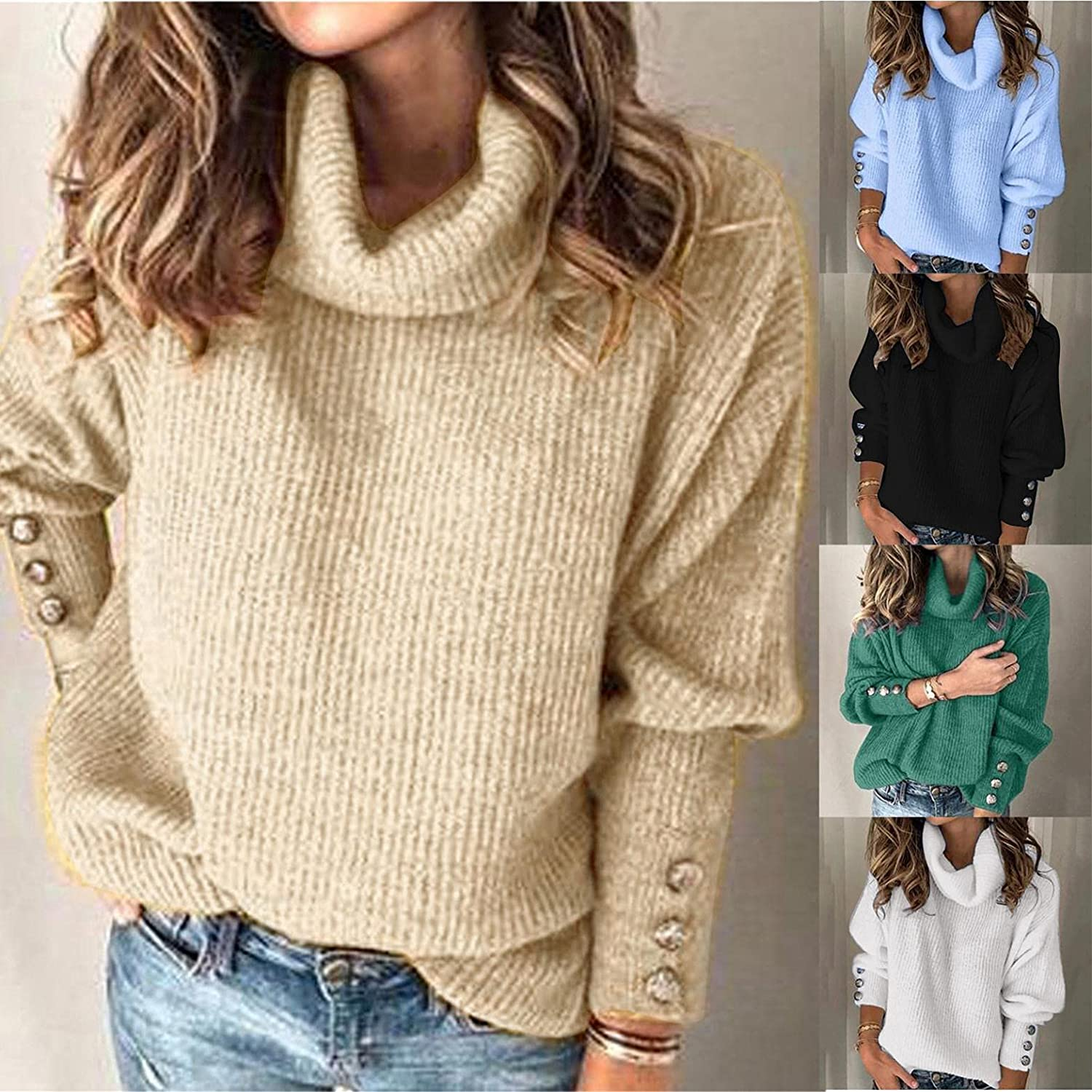 Gibobby Sweaters for Women,Women's Oversized Casual Sweaters Long Sleeve Sweatshirts Knitted Cowl Neck Outwear Pullover