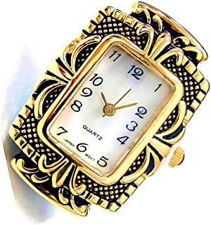Antique Gold Rectangle Watch Face For Crafts, Beading Jewelry Making - Size 25 x 35 mm Frame - Geneva Style - Japan Movement  - Battery Included