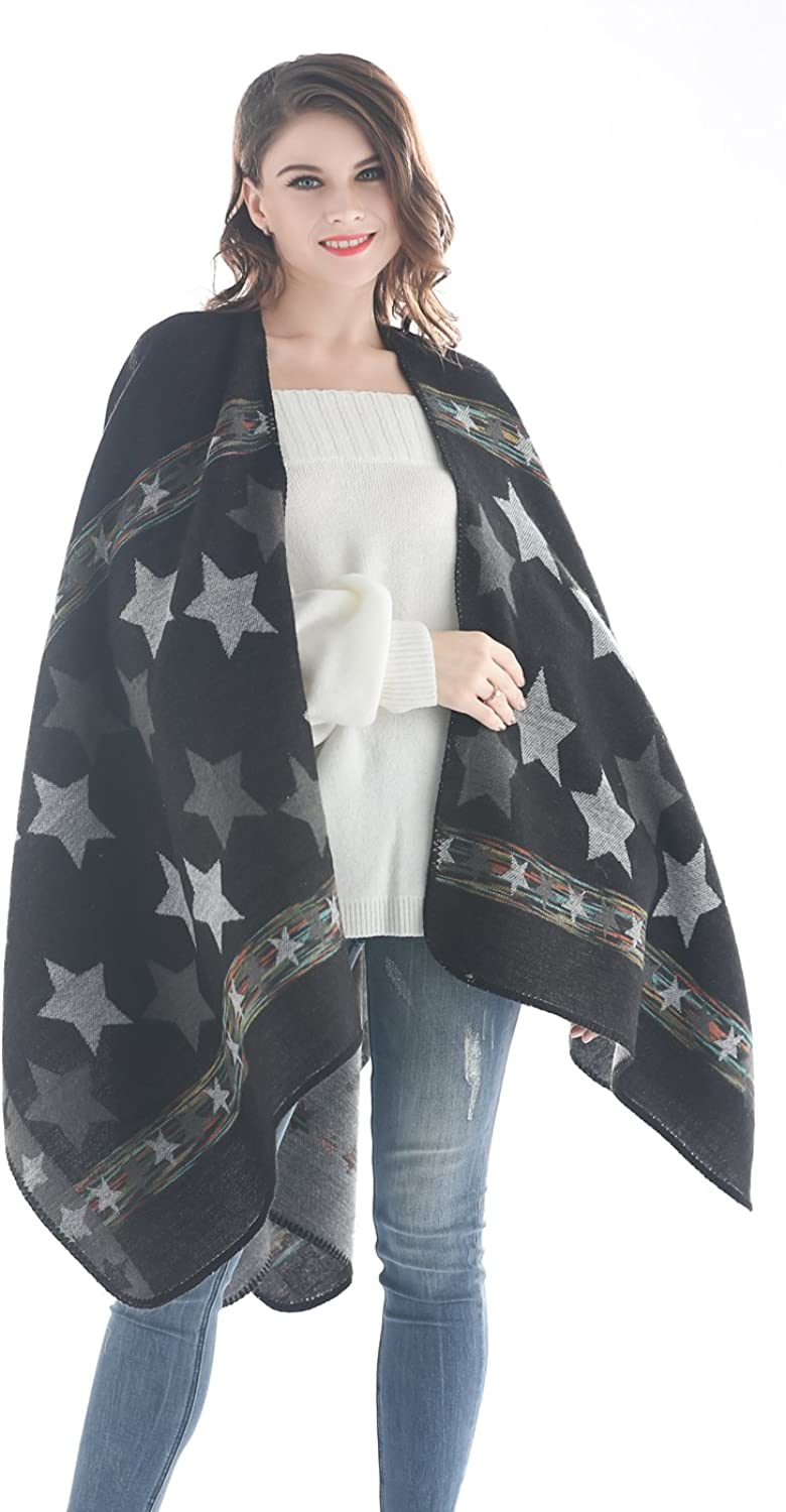 Jovono Women's Blanket Pashminas Shawls Warm Star Wrap Shawl Cape for Women