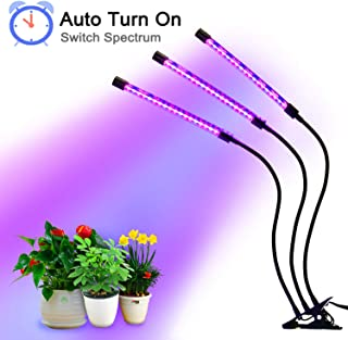 27W Plant Grow Light with Auto Turn On Function, Slitinto 54 LED Plant Grow Lamp with 3/6/12H Timer, 3-Head Divide Control Adjustable Gooseneck, 5 Dimmable Levels for Indoor Plants [Full Spectrum]