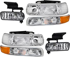 Headlights Fog Lights & Side Signal Marker Lamps 6 Pc Set for Chevrolet Pickup 16526133 16526134 15199558 15199559