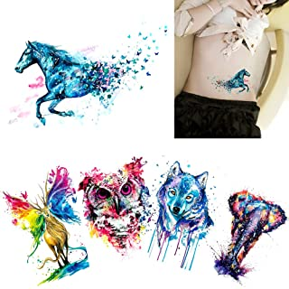 386b3f974 5 Sheets Watercolor Body Temporary Tattoo Sticker Wolf Elephant Picture  Design Leg Arm Art Sexy