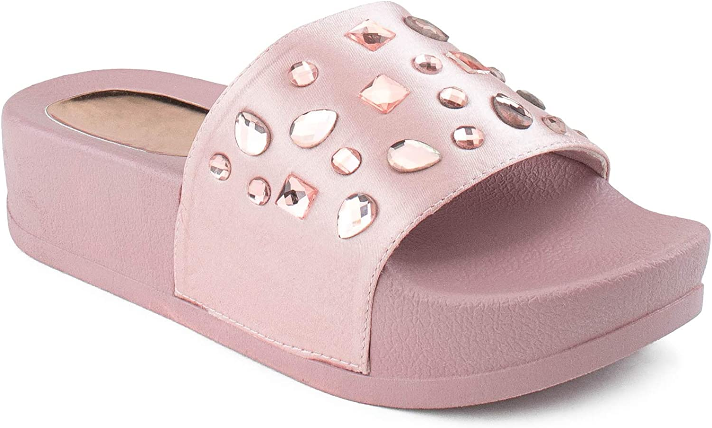 RF ROOM OF FASHION Women's Jeweled Platform Slide Sandals