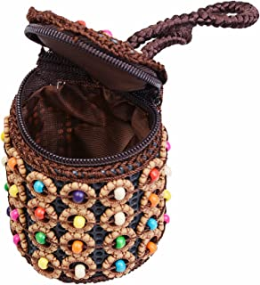 D DOLITY Mini Woven Colorful Beads Potli Bag Indian Ethnic Wristlet Clutch