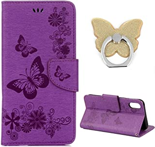 BONTOUJOUR iPhone Xs MAX Wallet Case, Multifunction Brilliant Butterfly Pattern Premium PU Leather Flip Folio Case with Card Slot Stand Holder and Magnetic Closure+Phone Holder-Purple
