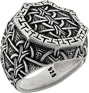 Solid 925 Sterling Silver Braided Celtic Knot Heavy Luxury Turkish Men's Ring