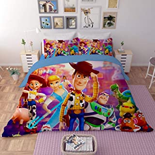 EVDAY Toy Story Duvet Cover Set for Kids Bed Set Super Soft Microfiber Polyester Cute Cartoon 3D Design Bedding 3Piece Including 1Duvet Cover,2Pillowcases Queen Size