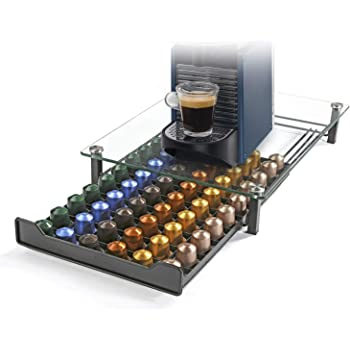 HiveNets Nespresso Cajón para Almacenar Cápsulas de Café Portacápsulas Soporte con Vidrio Templado para 60 Pcs: Amazon.es: Hogar