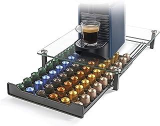 HiveNets Nespresso Porte Capsule de Café Pod Support de Tiroir de Rangement en Verre Trempé en Cristal pour 60 Pcs