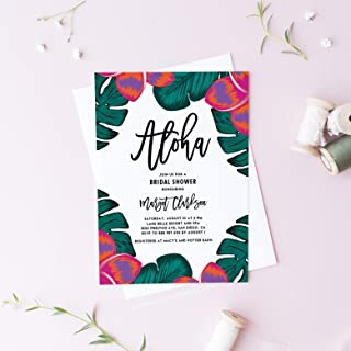 Dozili Bridal Shower Luau Invitation Tropical Plumeria and Greenery Bridal Shower Invitation Customizable Event