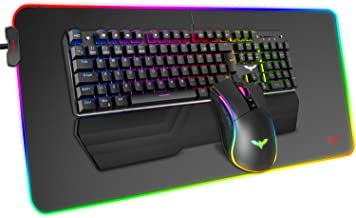 Havit Mechanical Keyboard and Mouse Combo RGB Gaming 104 Keys Blue Switches Wired USB Keyboards with Detachable Wrist Rest...