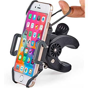 Bike & Motorcycle Phone Mount - for iPhone 11 (Xs, Xr, X, 8, Plus/Max), Samsung Galaxy S20 or Any Cell Phone - Universal Handlebar Holder for ATV, Bicycle or Motorbike. +100 to Safeness & Comfort