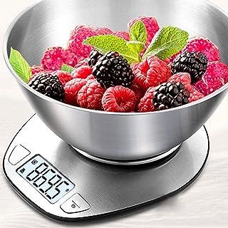 Báscula de cocina para el hogar con bandeja báscula electrónica de alimentos báscula de dieta, herramienta de medición delgada LCD digital electrónica báscula de pesaje (color: gris claro)