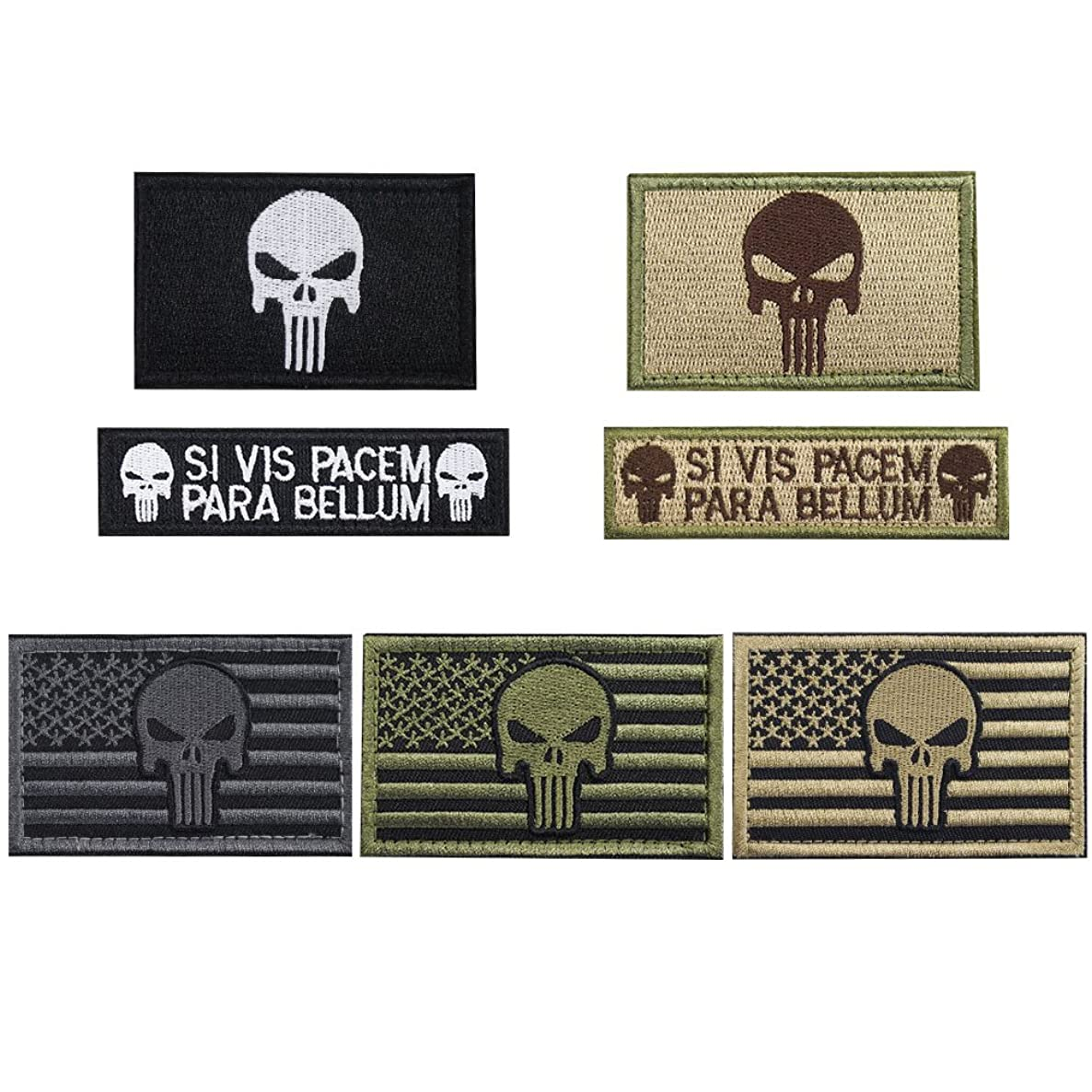 Creatrill Bundle 7 Pieces American Flag Tactical Military Morale Patch Set for Caps,Bags,Backpacks,Tactical Vest,Military Uniforms