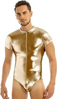 Freebily Mens One-Piece Short Sleeves Patent Leather Leotard Bodysuit Underwear