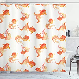 Ambesonne Fish Shower Curtain, Goldfish with Bubble Eye Pattern Illustration with Sea Animals Print, Cloth Fabric Bathroom Decor Set with Hooks, 70