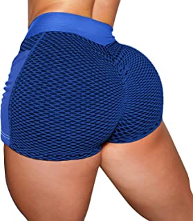 YOFIT Women's High Waist Gym Shorts with Pockets Tummy Control Booty Shorts Workout Running Butt Lift Hot Pants