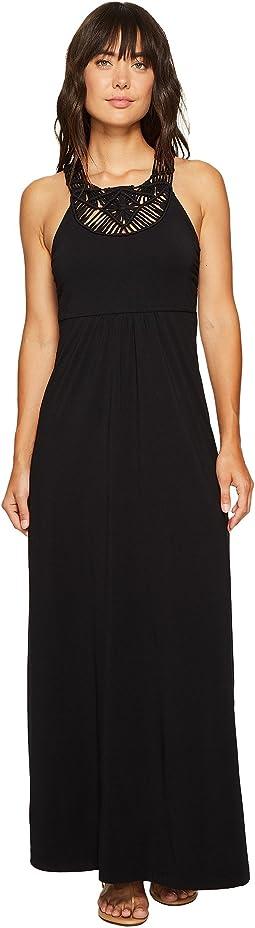 Mod-o-doc - Cotton Modal Spandex Jersey Crochet Bib Tank Maxi Dress