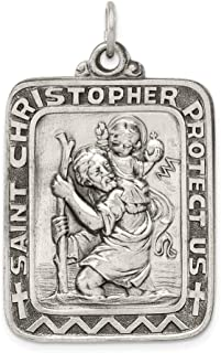 925 Sterling Silver Saint Christopher Medal Pendant Charm Necklace Religious Patron St Christopman Fine Jewelry For Women