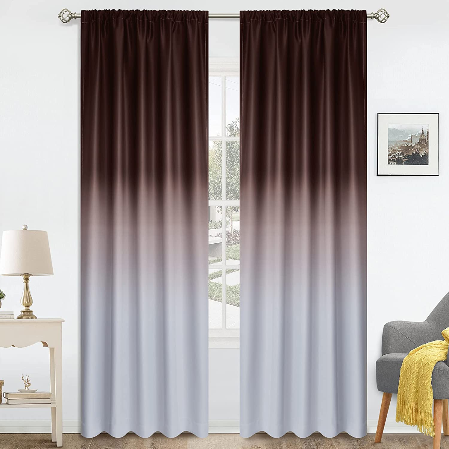 COSVIYA Rod sale Pocket Ombre Room Curtains inch famous Length Darkening 84