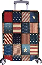InterestPrint Vintage Patchwork American Flag Travel Luggage Cover Suitcase Protector Fits 22