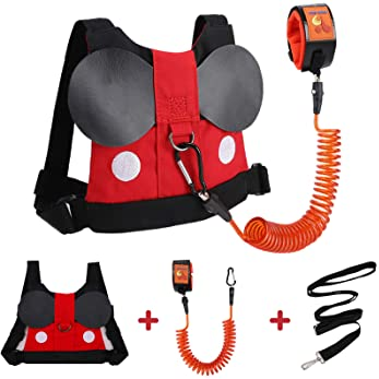 Accmor Toddler Leash Harness, Child Harness Baby Leash + Anti-Lost Wrist Link, Cute Kids Harness with Walking Assista...