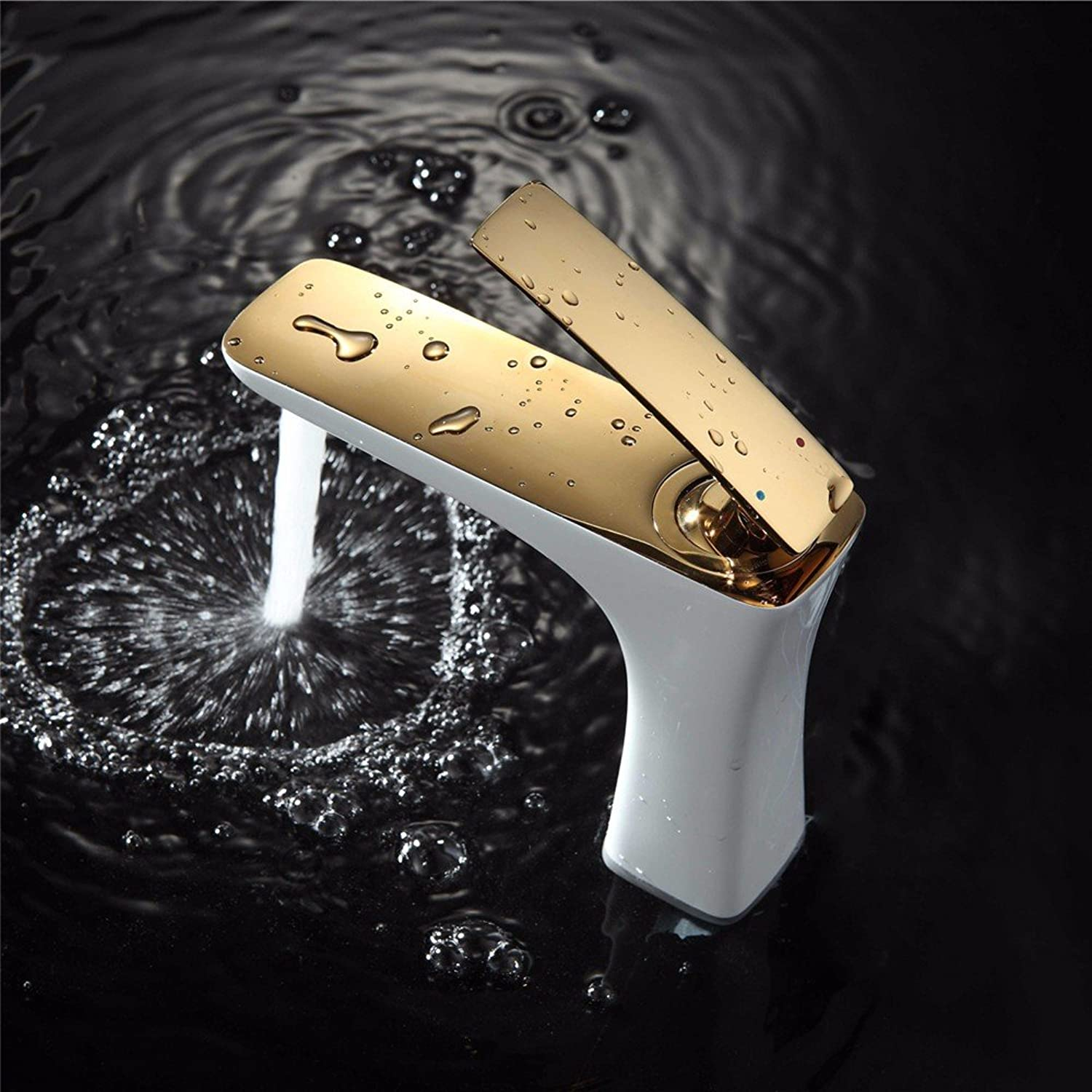 WasserhahnTap All copper short paint hot and cold water ceramic valve single hole single handle hand bathroom basin faucet white gold