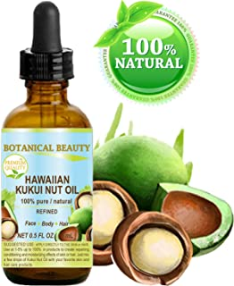 KUKUI NUT OIL HAWAIIAN 100% Pure/Refined Cold Pressed Carrier Oil for Skin, Hair, Lip and Nail Care. 0.5 Fl.oz.- 15 ml. Bo...