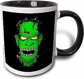 """3dRose mug_53342_4 """"FRANKENSTEIN trick or treat 2 on black"""" Two Tone Black Mug, 11 oz, Multicolor"""