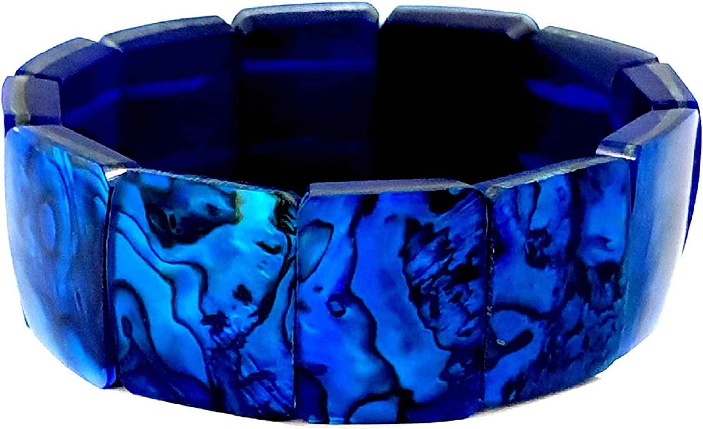 Blue Natural Abalone Shell Stretch Cuff Bracelet 6 to 8 inch Stretchable Handmade Women Paua Jewelry DA492-B