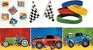 120 Pc Kid's Race Car Party Favor Bundle Pack (72 Tattoos, 12 Bracelets, 12 Sticker Sheets, 24 Checkered Racing Flags)