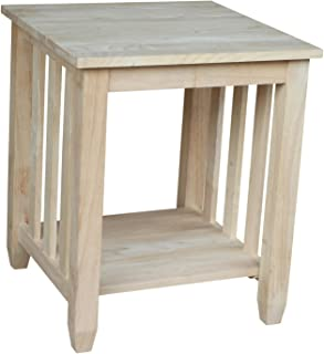 International Concepts Mission Tall End Table, Unfinished