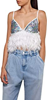 Replay Women's Sequins And Fringes Crop Top