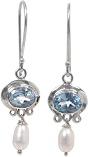 Cultured Freshwater Pearl and Blue Topaz Earrings, Sterling Silver Hooks, Sky Fantasy'