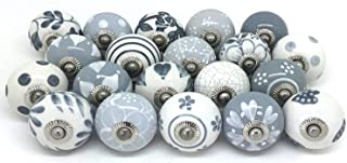 Lot of 10 Grey & White Ceramic Door Knobs Vintage Shabby Chic Cupboard Drawer Pull Handles