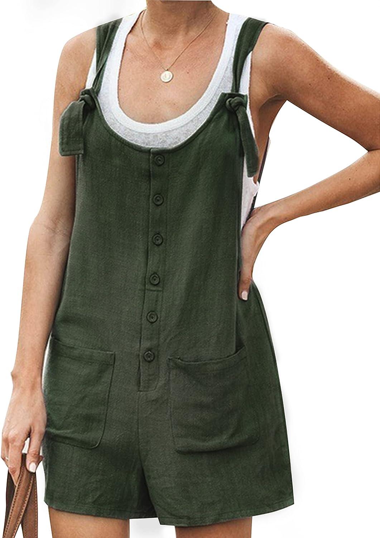 Yeokou Women's Casual Summer Cotton Linen Rompers Overalls Jumpsuit Shorts