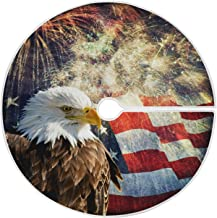 Bald Eagle USA Flag Fireworks Christmas Tree Skirt 35.4 Inches Patriotic Memorial Independence Day Xmas Tree Skirts Floor ...