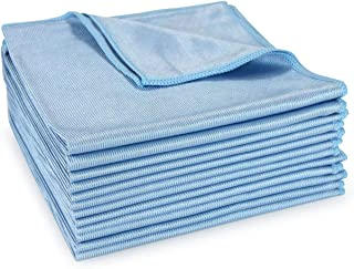 Arkwright Microfiber Glass Cleaning Cloths Pack of 12, Lint Free, Streak Free, Shiny Finish, Ideal for Cleaning Mirrors, Glass, Tablets, Screens, Wood and Leather Furniture (16 x 16 Inch, Blue)