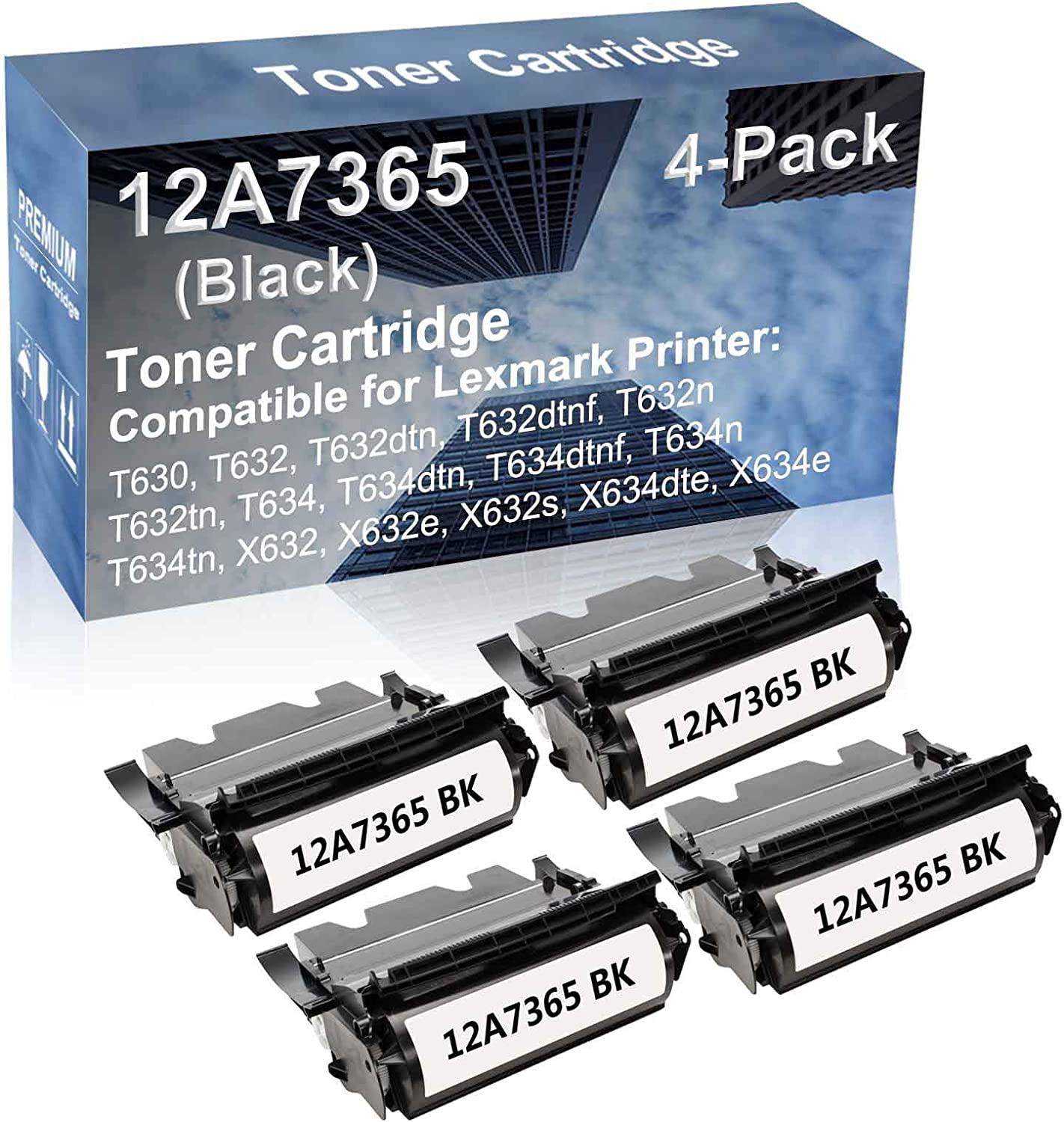 4-Pack Compatible High Capacity T634, T634dtn, T634dtnf, T634n, T634tn Printer Toner Cartridge Replacement for Lexmark 12A7365 Toner Cartridge (Black)