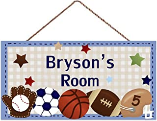 Customized Blue All-Star Boys Sports Football Rugby Baseball Bedroom Personalized Door Sign Wooden Plaque Sign Wall Decora...
